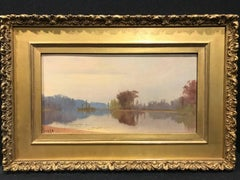 Nineteenth Century Hudson River Era Landscape Painting, Lake Rebecca, Minnesota