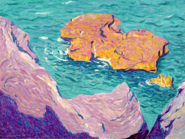 E. Ambrose Webster Landscape Painting - Rock in the Sea