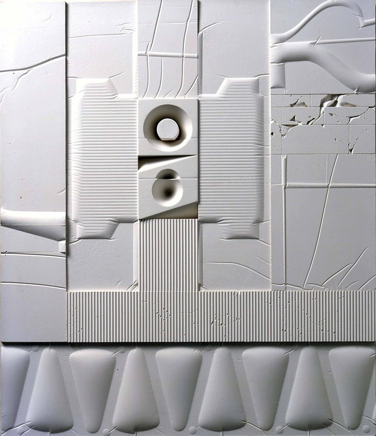 Mid-Century Modern Art, Design, 1978, White Relief #6(LE)78 - Mixed Media Art by Abe Ajay