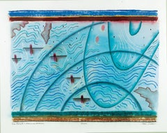 Sea Currents - Known and Unknown, Pastel from 1993, Kayak Boat Subject