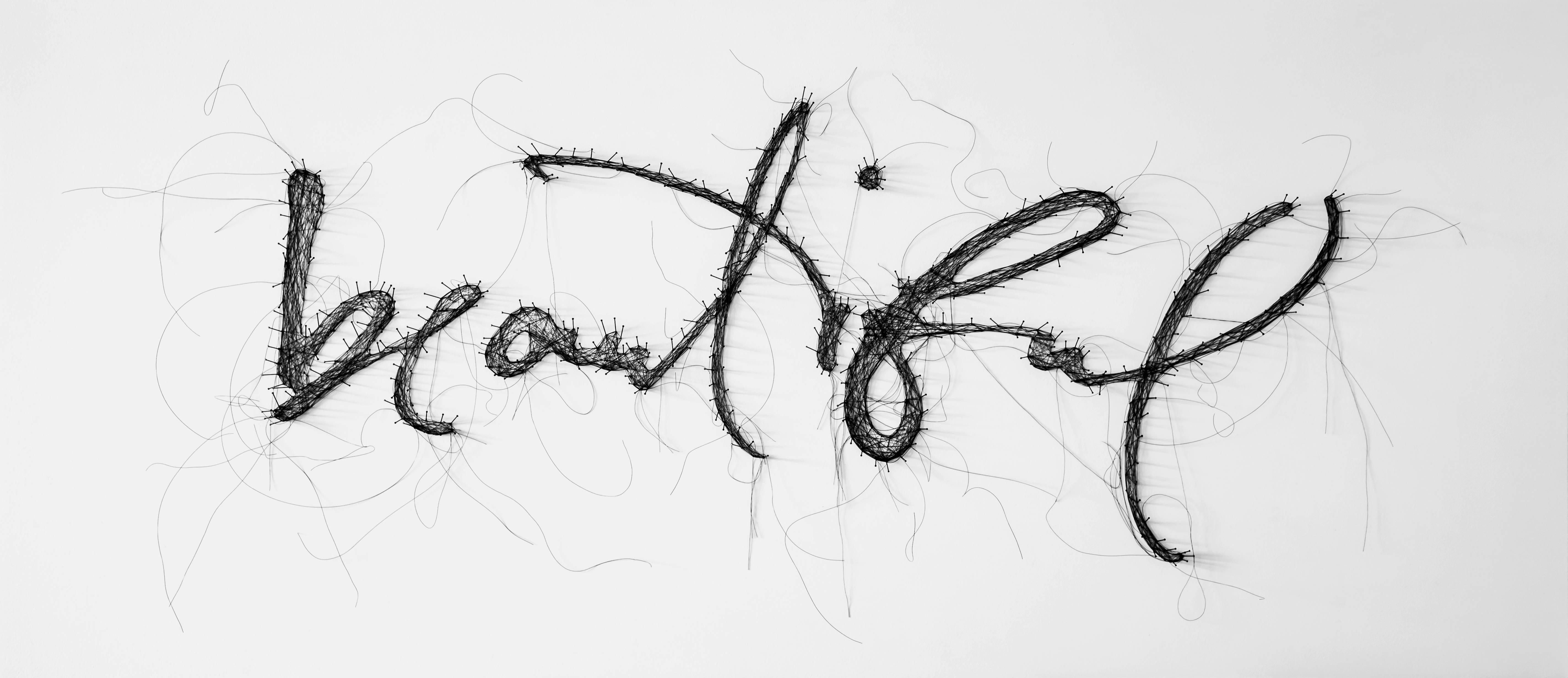 Beautiful - contemporary mixed media thread pins writing artwork framed glazed