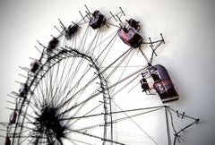 Ferris Wheel -experimental monochromatic thread and pins composition