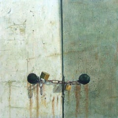 Quarry Hill -minimalist grey green wabi-sabi locked door painting oil on canvas