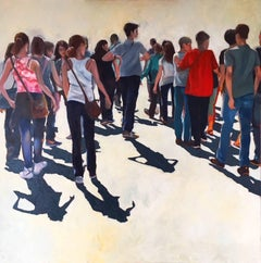 One Direction - colourful realistic figurative crowd people oil painting