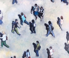 Behind the Shadows -naturalistic figurative crowd painting oil on canvas