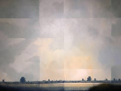 Ambient Tones of Twilight -experimental grey landscape painting oil on canvas