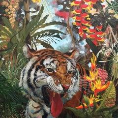 Sandokan - vibrant colourful tiger flora jungle acrylic painting