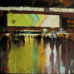 Trapped Reflections -contemporary cityscape architecture painting oil on canvas