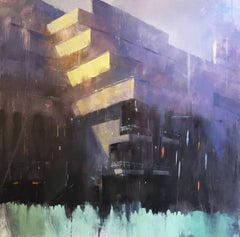 The National Theatre -contemporary cityscape architecture painting oil on canvas