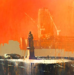 Blackfriars -contemporary orange cityscape architecture painting oil on canvas