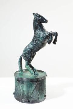 Drum Horse - contemporary animal horse drum bronze sculpture