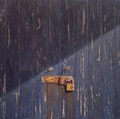 Quayside -minimalist grey green wabi-sabi locked door painting oil on canvas