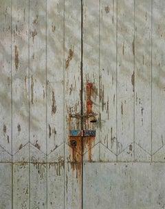 Number 79 -minimalist grey green wabi-sabi locked door painting oil on canvas