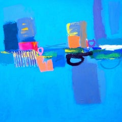 Catcher -contemporary pink and blue abstract painting acrylic on canvas