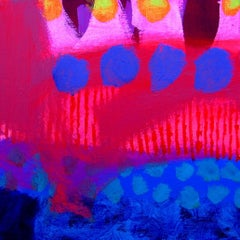 Harbour Lights -contemporary pink and blue abstract painting acrylic on canvas