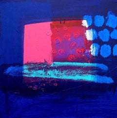 Cinema -contemporary pink and blue abstract painting acrylic on canvas