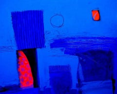 Bay -contemporary red and blue abstract painting acrylic on canvas