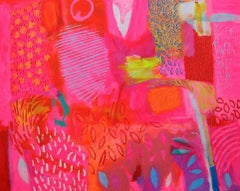 Jamaica -contemporary pink and red abstract painting acrylic on canvas