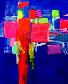 Overture -contemporary red and blue abstract painting acrylic on canvas
