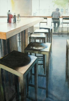Café 2 - contemporary cafe interior watercolor drawing paper chairs light