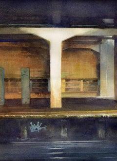 Platform 1 - illustrative cityscape architecture drawing watercolor on paper