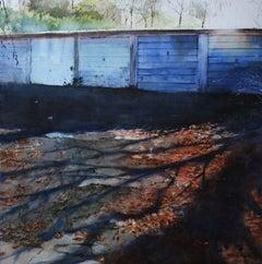 5 Garages - contemporary cityscape blue garage autumn watercolor paper