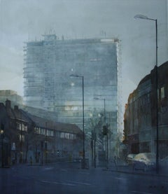 Sunlight Through The Tower -illustrative cityscape architecture watercolor