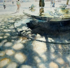 Fountain -illustrative cityscape architecture watercolor on paper