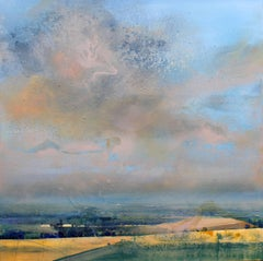 Harvest -contemporary yellow and grey landscape painting oil on canvas