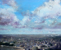 London, View from the Shard -contemporary blue and white cityscape acrylic