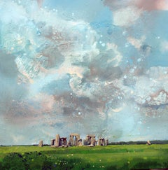 Stonehenge -contemporary green and blue landscape painting oil on canvas