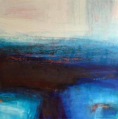Nocturne -abstract blue and white painting wax and oil on canvas