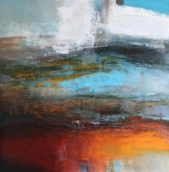 Elemental I -contemporary abstract blue and orange oil and wax on canvas
