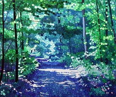 Blue Mist -contemporary pointillist landscape painting acrylic on canvas