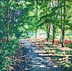 September Sun -contemporary pointillist landscape painting acrylic on canvas