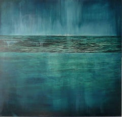 Tidescape – Blue Tide - contemporary abstract blue seascape waves oil canvas
