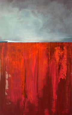Tan Tan-R -contemporary abstract red and grey surf seascape oil on canvas