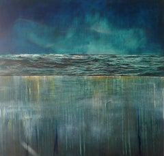 Tidescape – Blue Drag -contemporary abstract blue surf seascape oil on canvas
