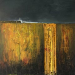 Yellow Amber -contemporary abstract yellow and black surf seascape oil on canvas