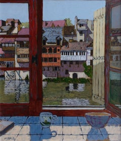 View Across the River Argenton -contemporary riverview acrylic on canvas