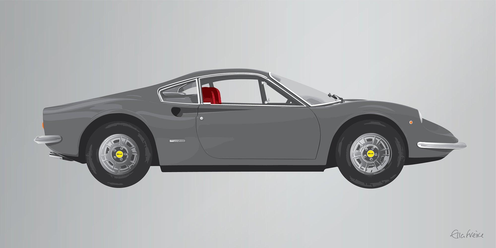 Ella Freire Ferrari Dino Grey Contemporary Grey Ferrari Car Screenprint Mixed Media For Sale At 1stdibs