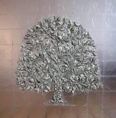 Dollar Tree US Dollar & Silver - mixed media silver leaf dollar resin on board