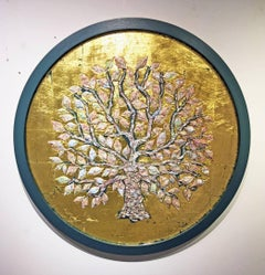 London Map Tree (round, gold) -mixed media circular gold leaf resin on board