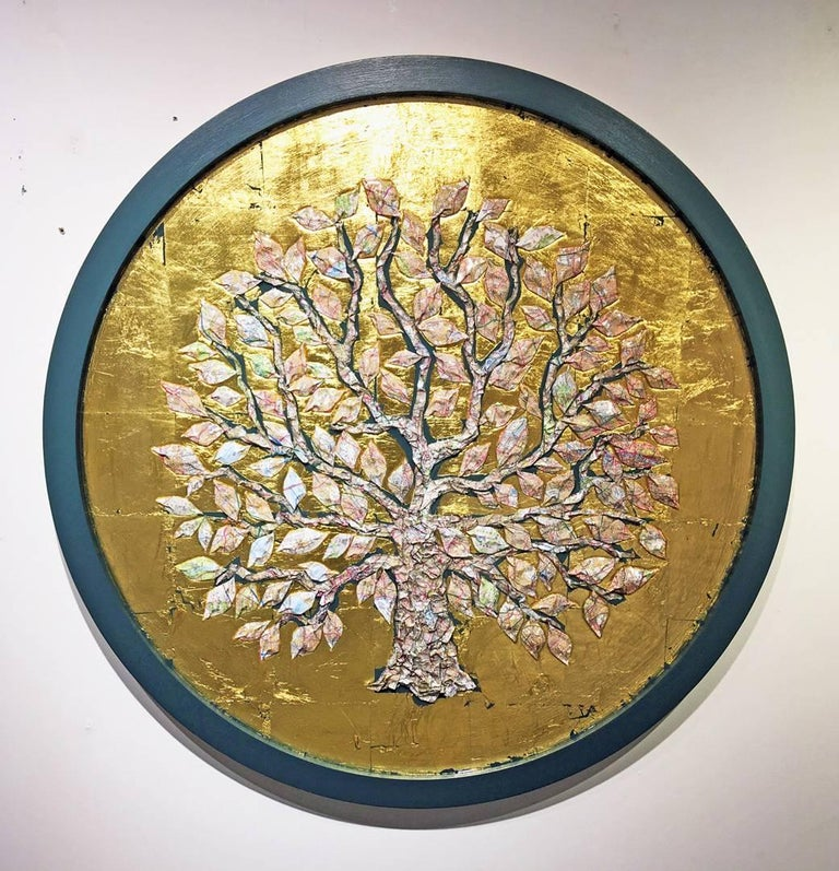 London Map Tree (round, gold)
