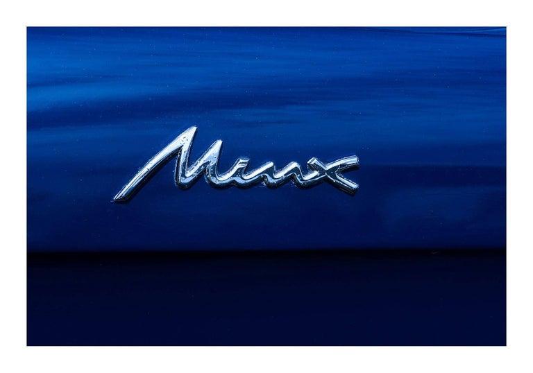 1960 Hillman Minx Series III Convertible - contemporary blue car lambda print - Print by Sarah Bayliss