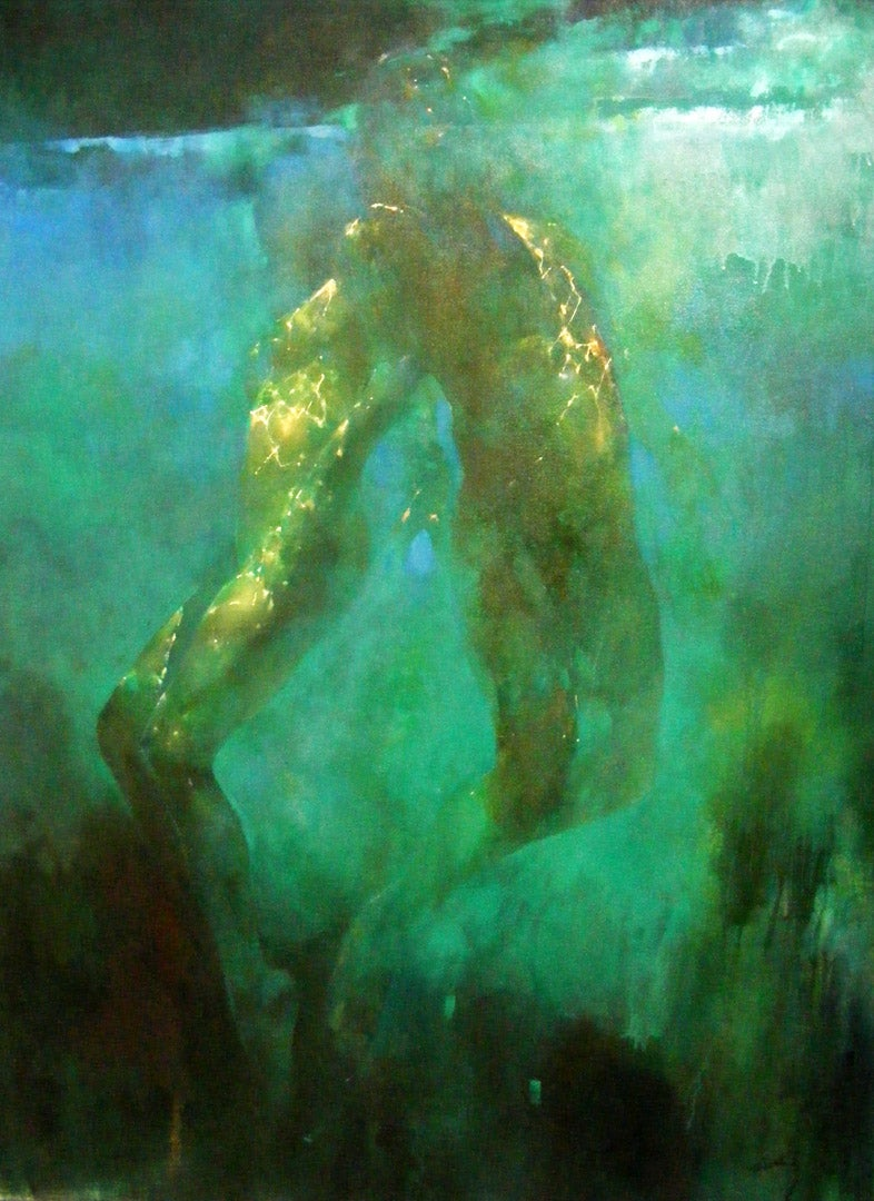 Silent Blue - blue and green underwater figurative painting oil on canvas