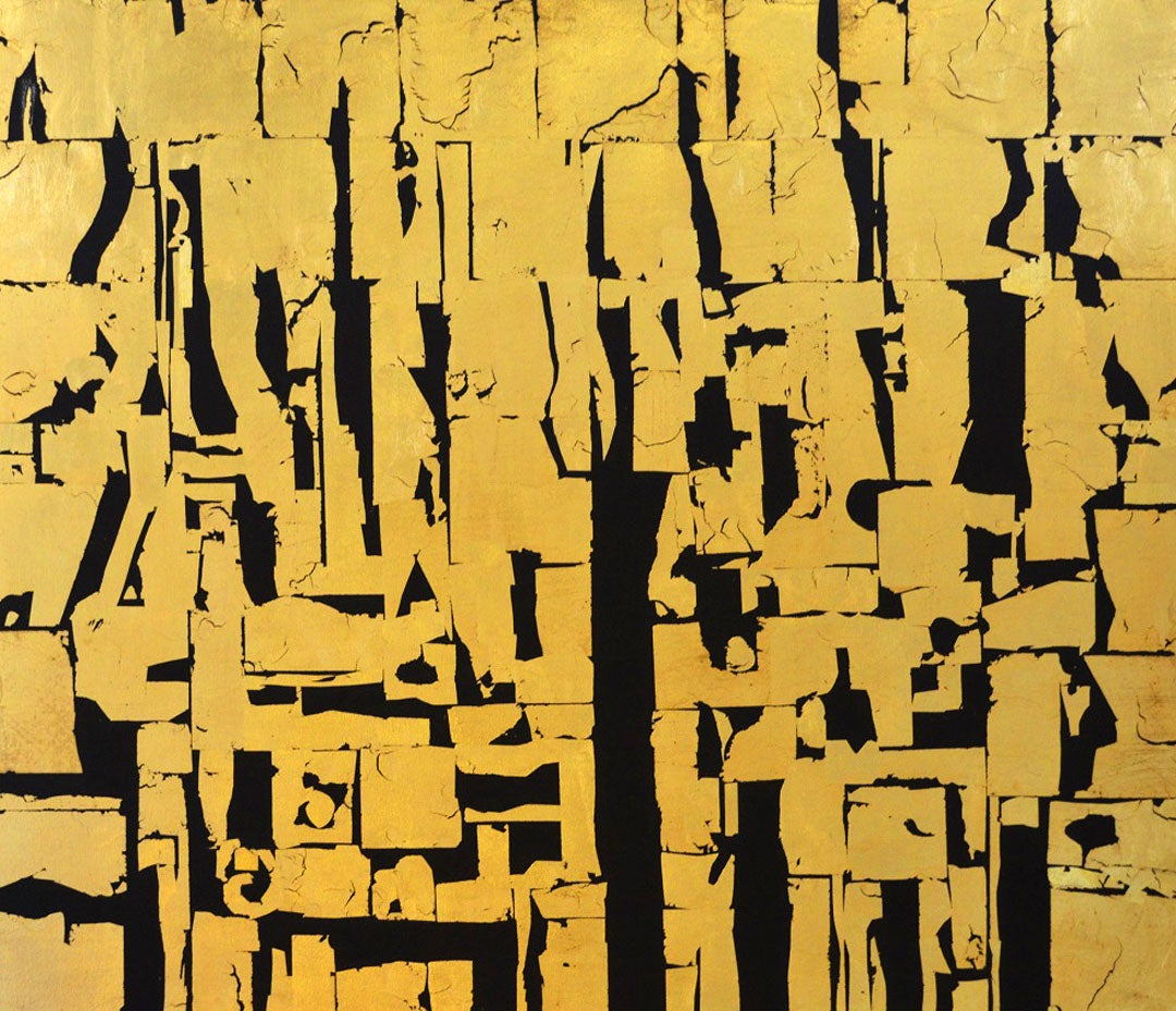 Gold Block III Votive Forms -contemporary abstract black and gold leaf on canvas