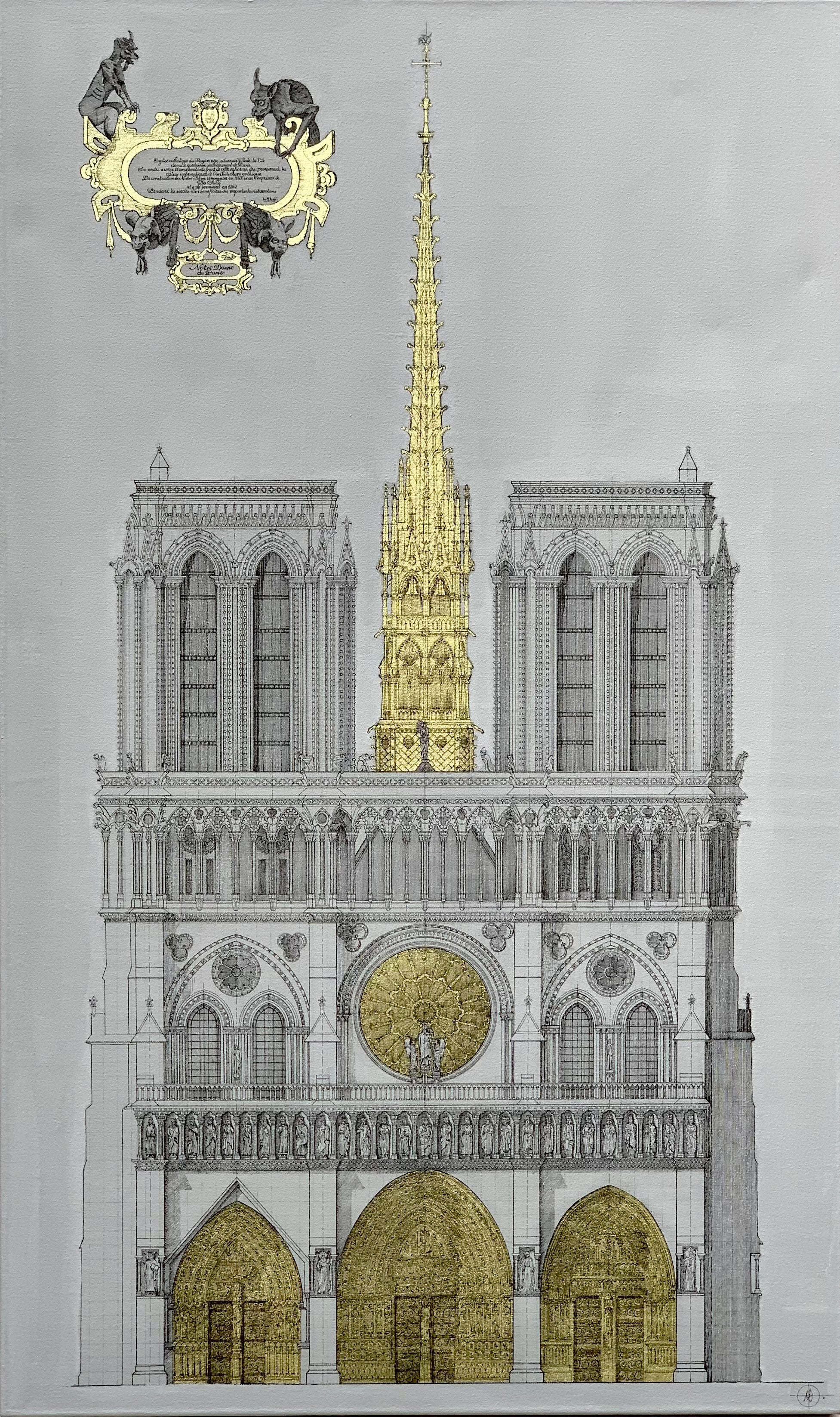 Notre Dame - contemporary technical drawing architecture cathedral Paris