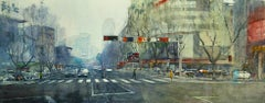 Crossing - contemporary cityscape architecture traffic watercolor paper framed