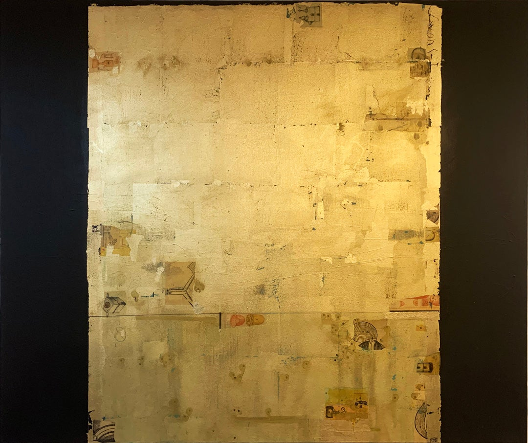 Golden Lore 3 - contemporary mixed media collage gold abstract